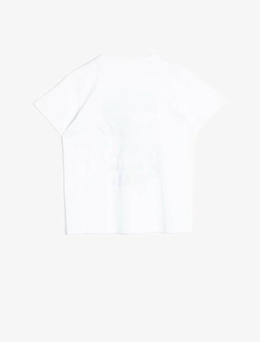 Koton Kids Yazili Baskili T-Shirt Beyaz
